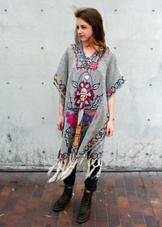 Vintage 70s Hippie Neon Embroidered Poncho by RaggedyThreads, $70.00