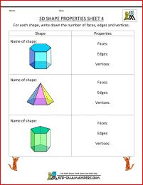 3d shape worksheet properties 4 - prisms and pyramids