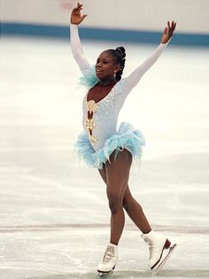 Surya Bonaly - France - 1998: Surya Bonaly is a three-time World silver medalist, a five-time European champion, and a nine-time French national champion. She is best known for her amazing free skate at the 1998 Winter Olympics, when she completed a one-bladed back flip. To this day she is the only skater to ever do this - not the only female figure skater, the only figure skater period. #womens #history #black #women #athletes #winter #olympics #sochi