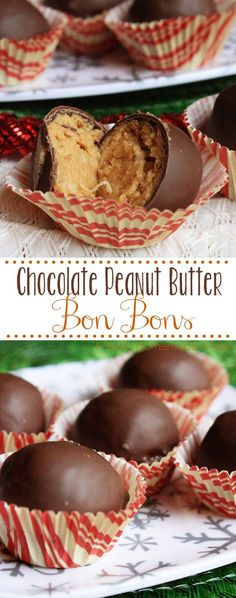 Chocolate Peanut Butter Bon Bons - such a festive sweet treat! Peanut butter, graham cracker crumbs, powdered sugar, and coconut coated in semi sweet chocolate. These are addictive!