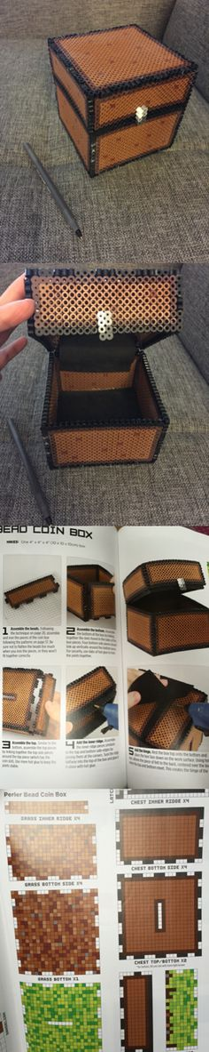 Perler bead box with super glued foam sheets for hinges and lining DIY