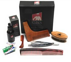 Ultimate Shape and Style Beard Grooming Kit- 7Piece- Unscented Beard Oil, Boar B #GBS