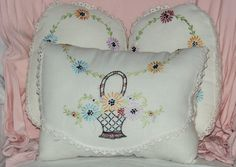Embroidered pillow from vintage linens