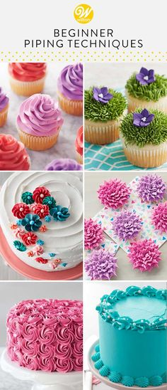cupcake frosting tips Whether youre new to cake decorating or just want to brush up on your piping skills, these beginner piping techniques are all you need to get started. Piping Buttercream, Buttercream Cake Decorating, Wilton Cake Decorating, Cookie Decorating, Buttercream Flowers, Cupcake Piping, Fondant Flowers, Cupcake Frosting Tips, Buttercream Cupcakes