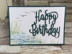 Fabulous Flamingo, High Tide, Happy Birthday Thinlits - all from Stampin' Up! Masculine Birthday Cards, Birthday Cards For Men, Masculine Cards, High Tide Stampin Up, Birthday Words, Male Birthday, Birthday Images, Birthday Quotes, Birthday Diy
