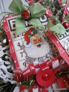 vintage dennison labels Santa bingo card tag