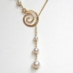 Gold Filled Necklace Lariat Necklace Pearl Necklace Pearl