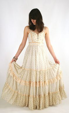 Vintage Gunne Sax dress; I have one very similar, only mine has small pink flowers on it. Love it!