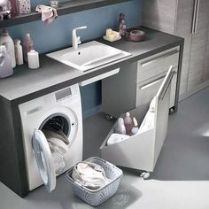 Small utility room ideas - If your home isn't blessed with a massive area to clean and fold your garments don't fret. Every one of these room ideas-- with integrated storage pointers-- will aid you take advantage of what you do have. Laundry Cupboard, Laundry Room Cabinets, Laundry Room Bathroom, Laundry Closet, Laundry Room Organization, Small Laundry, Small Bathroom, Laundry Rooms, Countertop Organization