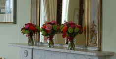 Pink flowers on mantelpiece  Wedding St Julians Club