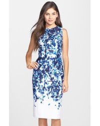 Vince Camuto | Multicolor Print Scuba Sheath Dress (Regular & Petite) | Lyst