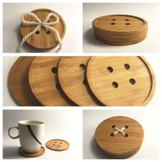 Items similar to Giant Bamboo Button Coasters, Unique Coasters, 4 Pack of Coasters, Dining Coasters, Wood 4 pack of solid bamboo button shaped coasters. Comes with natural sheep wool to tie it together when not in use. You can tie through one loop and Bamboo Crafts, Wood Crafts, Wooden Gifts, Wooden Toys, Teds Woodworking, Woodworking Projects, Giant Bamboo, Diy Coasters, Wooden Projects