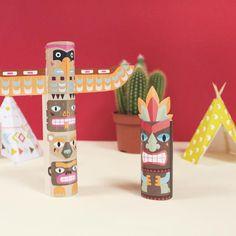 Atelier DIY du jour : des totems d'indiens. Tuto disponible sur le blog #printable #activiteenfant #ateliercreatif #diy #diyforkids #joueauxindiens #instakids #cmonetiquetteleblog #ilovecmonetiquette #cmonetiquette