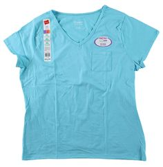 Women's Hanes Cotton V-Neck Pocket T-Shirts, Light Baby Blue, XL, 16-18, X-Large #Hanes #BasicTee