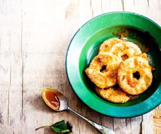 Apple cider fritters with caramel sauce By Nadia Lim