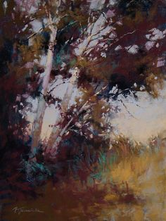 Among the Birch Trees by Barbara Jaenicke Pastel ~ 12 x 9