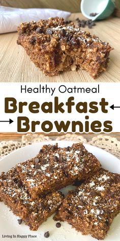 This healthy twist on breakfast brownies will knock your socks off! If you are looking for healthy breakfast recipe ideas, you must try these flourless, dairy free, chocolate baked oatmeal bars. Easy healthy breakfast brownies for kids. Healthy Oatmeal Breakfast, Healthy Breakfast Recipes, Snack Recipes, Dessert Recipes, Recipes Dinner, Good Breakfast Ideas, Healthy Baked Oatmeal, Baked Oatmeal Recipes, Kid Recipes