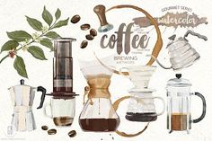 Watercolor coffee brewing methods