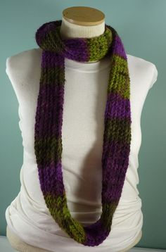Loom Knit Infinity Scarf, Mens Knit Scarf, Purple and Green Scarf, Teen Knit Scarf, Loop Scarf, Knit Circle Scarf, Unisex - Ready to Ship by JandSKnitts on Etsy