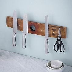 Magnetic Knife Rack Ideas From Wood : Magnetic Knife Rack Ideas From Wood Wine Barrel Crafts, Wine Barrel Rings, Wine Barrels, Wine Cellar, Bourbon Barrel Furniture, Magnetic Knife Rack, Barris, Barrel Projects, Wine Decor