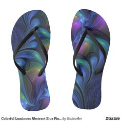 Colorful Luminous Abstract Blue Pink Green Fractal Flip Flops
