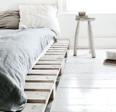 simple and cozy - love the color palette and the wood