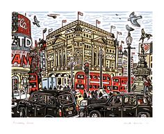 Piccadilly Circus Linocut by Mick Armson