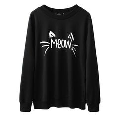 Cat's Meow Long Sleeve Sweater found on Polyvore featuring tops, sweaters, shirts, sweatshirts, black, cat shirt, long sleeve tops, black top, black cat shirt and extra long sleeve shirts
