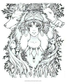 """It's a """"surprise"""" theme this time, a Ghiblis Mononoke fan art. It's one of my favorite Ghibli movies. They're all great but some of them really hold a special value to me. Studio Ghibli Tattoo, Studio Ghibli Art, Studio Ghibli Movies, Totoro, Anime Kunst, Anime Art, Mononoke Anime, Tatoo Manga, Art Sketches"""