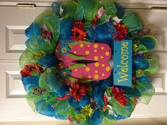 Turquoise and Lime Green Deco Mesh Wreath, Summer Theme. $50