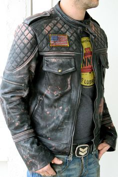 Sans the morale patch, I'd wear that. Leather padded Moto Jacket by BoneBlack on Etsy Biker Leather, Leather Men, Vintage Leather Motorcycle Jacket, Leather Fashion, Mens Fashion, Custom Leather Jackets, Biker Wear, Motorcycle Style, Sharp Dressed Man