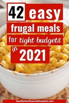 Check out these simple recipes to make budget meals! These are great family meals on a budget! Find easy recipes for cheap meals for under $5! Find super easy and cheap meals for families or kids! Perfect meals for easy meal planning! Make a 2 week meal plan! #dinner #easydinner #familydinner #cheapdinners #cheapmeals #meals #savemoney #money #family #save #frugal #budget Cheap Meals For 5, Cheap Family Meals, Cheap Food, Cheap Recipes, Cheap Dinners, Simple Recipes, Easy Dinner Recipes, Family Meal Planning, Budget Meal Planning