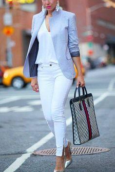 White & Grey Glam office wear corporate look blazer ladies skinny pants in white Summer Work Outfits, Casual Work Outfits, Mode Outfits, Work Casual, Classy Outfits, Casual Chic, Classy Chic, Chic Outfits, Work Attire