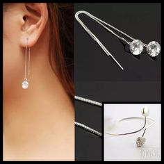 Bundle of a Deal Get these gorgeous sterling silver threader earrings w/CZ chip & free double heart adjustable, cuff, bangle bracelet! Earring Measurements: Total Length: approx 9.5cm CZ Diameter: approx 8mm ❗️Please do not purchase this listing! Comment if interested & I will create one for you❗️ Jewelry