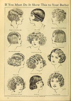 """Vintage advert for hair styles, """"get the flapper look by showing this advert to your barber"""" 20s Fashion, Fashion History, Vintage Fashion, Flapper Fashion, 1920s Long Hair, 1930s Hair, Style Année 20, 1920s Style, Gatsby Style"""