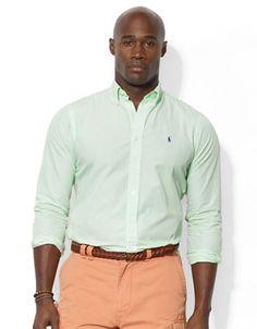 $49.99 1XB | Big & Tall | Big and Tall Classic Fit Striped Poplin Sport Shirt | Hudson's Bay
