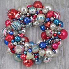 Faded Patriotic Christmas Wreath with Vintage and Antique Ornaments