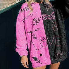 Retro Color-block Cute Pink Sweatshirts – aromiya Edgy Outfits, Cute Casual Outfits, Retro Outfits, Fashion Outfits, Girl Outfits, Printed Sweatshirts, Hoodies, Fashion Sweatshirts, Sweatshirts Online