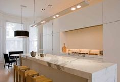 waterfall island modern kitchen