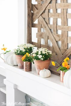 Neutral Fall Mantel Decor by The Lilypad Cottage