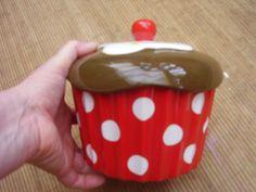 Red polka dot cupcake cookie jar