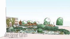 Handzeichnung, koloriert: Perspektischer Blick in einen Reihenhausgarten von der sekundären Terrasse in den Grünzug außerhalb des Gartens. Die kreuzförmig angeordneten Beete liegen schräg zur Sichtachse und bilden so dynamische Blickbeziehungen. Painting, Jelly, Patio, Drawing Hands, Lawn, Pool Chairs, Painting Art, Paintings, Painted Canvas