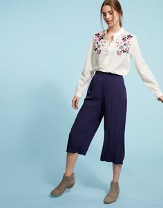 Lennon French Navy Culottes  | Joules US
