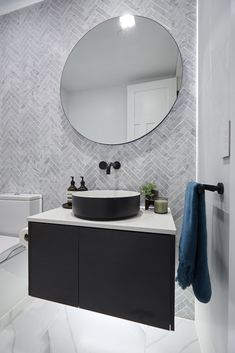The Block Hallway, laundry and powder room reveals The Block Kerrie and Spence's powder room features a marble herringbone tile feature wall. Bathroom Renos, Laundry In Bathroom, Laundry Powder, Bathroom Styling, Bathroom Interior Design, Bathroom Lighting, Modern Bathroom, Small Bathroom, Bathroom Marble