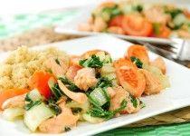Gemarineerde zalm met paksoi en quinoa
