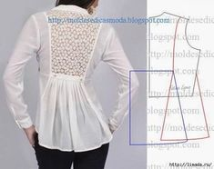 Illustration for this lovely shirt back~Moldes Moda por MedidaFashion Templates for Measure Chemisier inclusion dans le dos et peplum.I want this patternBeautiful lace back and pleats - would make a nice tunic feature Diy Clothing, Clothing Patterns, Dress Patterns, Sewing Patterns, Fashion Sewing, Diy Fashion, Fashion Details, Sewing Hacks, Sewing Tutorials