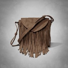 Womens Faux Suede Fringe Foldover Crossbody Bag | Womens Spring Style Guide | Abercrombie.com