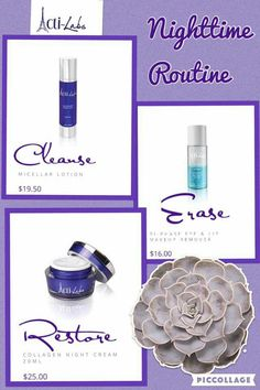 Looking for a night time routine. Cleanse , Erase, and Restore with Actilabs Skincare. Browse my link below ❤ www.luvsmylashes.com