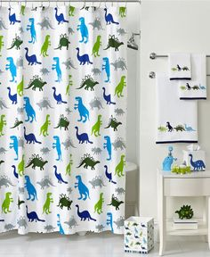Would love this shower curtain, but match it with solid color towels and accessories.  Kassatex Bath, Dino Park Collection - Sale & Closeouts - Bed & Bath - Macy's