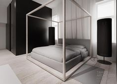 Interior. Black and white combination of room: Amusing Modern Four Poster Bed…